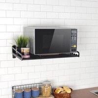 Microwave Oven Storage Holders Racks Kitchen Shelf Holder Black Aluminum Wall Shelf Oven Rack Kitchen Organizer Accessories