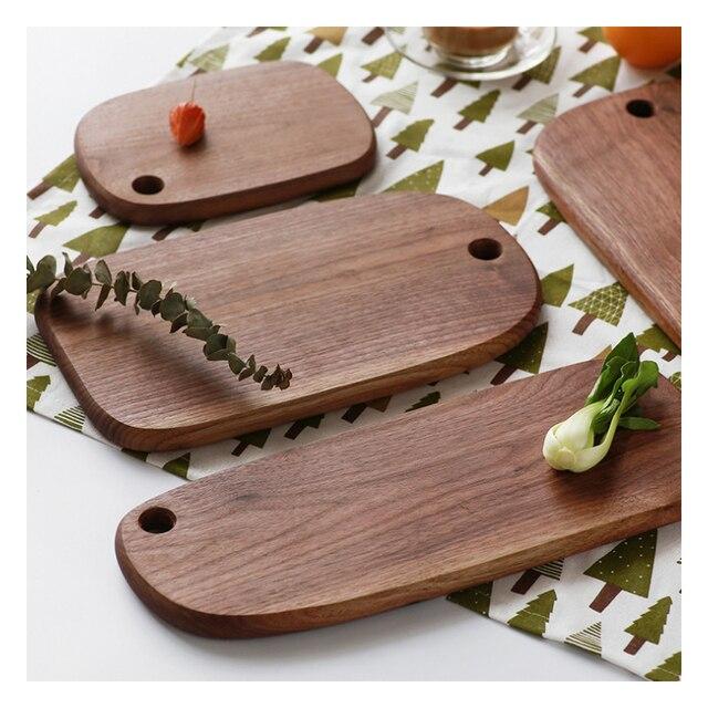 1pc RSCHEF Black Walnut Chopping Blocks Kitchen Wood Food Plate Wooden Pizza Sushi Bread Whole Wood Tray Cutting Board No Paint 2