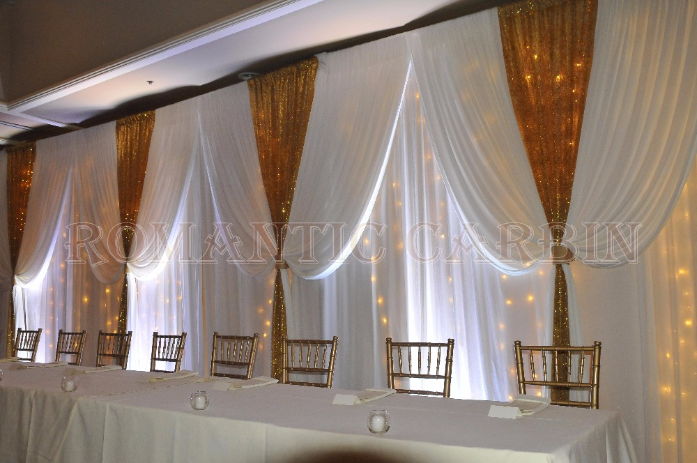 2017 Lastest Wedding Stage Curtain White With Gold Sequin