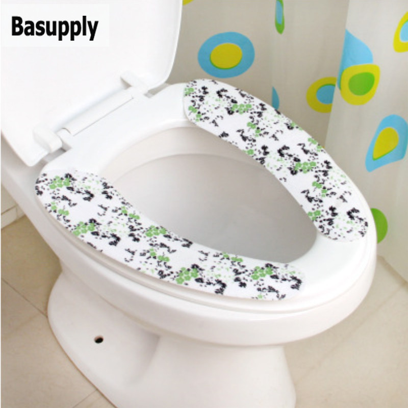 Basupply 1 pair Warmer Toilet Seat Cover Closestool  Mat Washable Soft Seat Cover Pad trimmed Toilet Cushion Bathroom Accessory toilet seat