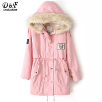 Dotfashion Faux Fur Hooded Zipper Embellished Fleece Inside Military Coat Pink Zipper Woman Long Sleeve Top 2017 Embroidery Coat