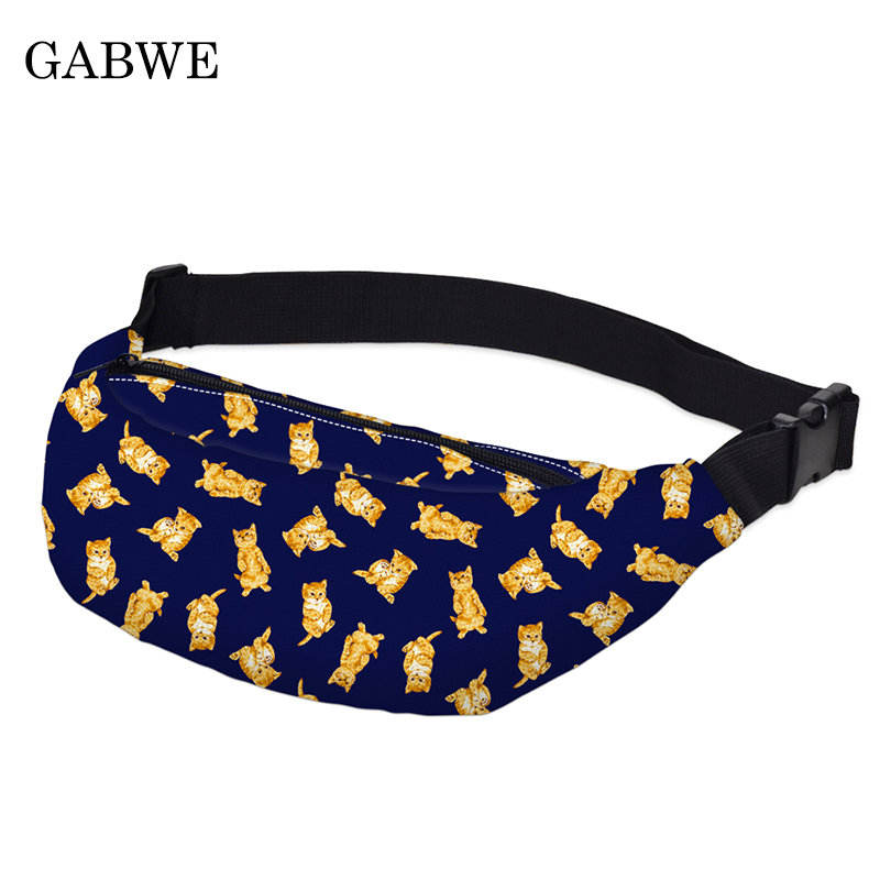 GABWE Female Colorful Waist Bag For Men Fanny Packs Style Belt Bag Maple Leaf Women Waist Pack Travelling Mobile Phone Bags