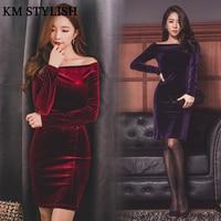 Sonbahar ve Kış 2017 Yeni kadın Moda Seksi Paket Kalça Kılıf Şarap Kırmızı Kadife Elbise Kapalı Omuz Mor renk SM, L, XL