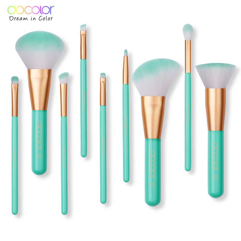 Docolor 9CS Pro Make up Brush Set Foundation Cream Powder Blush Kabuki Brush Woman Beauty Makeup Brushes Tools Pincel Maquiagem ducare kabuki brush flat foundation makeup brushes professional liquid foundation brush cosmetic tool pincel maquiagem 1 pc