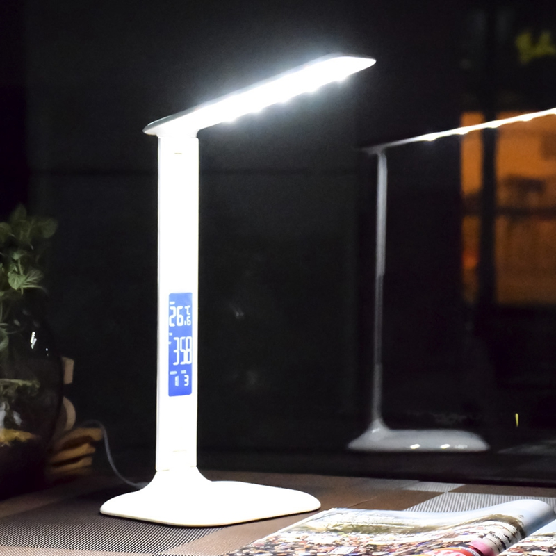 TOP!-Led Table Lamp With Lcd Screen Desk Lamp Portable Reading Light With Calendar Clock Flexible Modern Office Dimmable