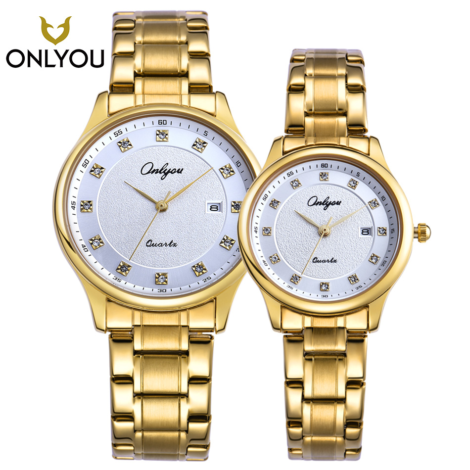 ONLYOU 2PCS New Women Watch Gold Men Diamond Watches Men Top Brand Luxury Stainless Steel Clock Automatic Quartz watch relogio