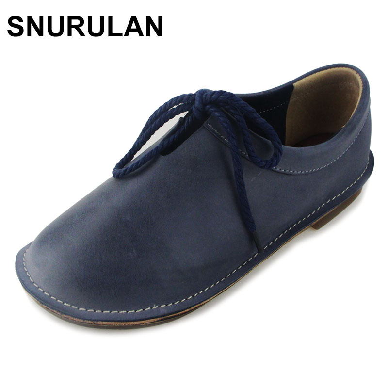 SNURULAN Women  Shoes Plain toe Lace up Ladies Flat Shoes Hand-made Genuine Leather Woman Shoes Female Spring/Autumn Footwear front lace up casual ankle boots autumn vintage brown new booties flat genuine leather suede shoes round toe fall female fashion