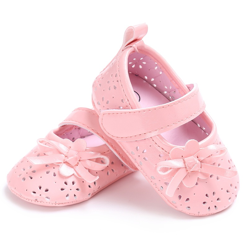 New Spring Newborn Baby Girls Princess Style PU Bowknot Anti-slip Crib Kids Shoes Hollow Out Shallow Prewalker Shoes 0-18M P1