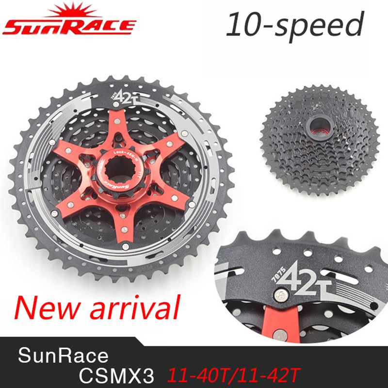 SunRace CSMX3 10 Speed MTB Bike Cassette Freewheel Wide Ratio Bicycle Mtb Freewheel Cassette 11-40T/11-42T sunshine 11 speed 11 42t cassette bicycle freewheel mtb mountain road bike bicycle wide ratio freewheel steel climbing flywheel
