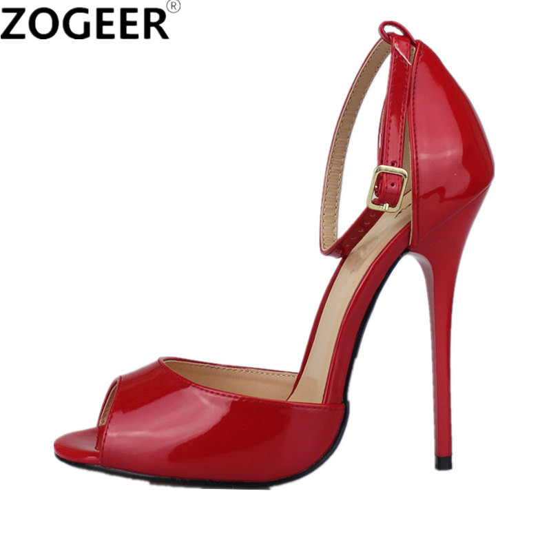 Plus Size 48 2018 Summer Peep Toe Women Sandals Sexy Extreme High Heel Pumps Red Black Party Wedding Evening Shoes Woman plus big size 40 50 brand new sexy red peep toe planting thin high heel pumps fashion women party wedding sandals free shipping