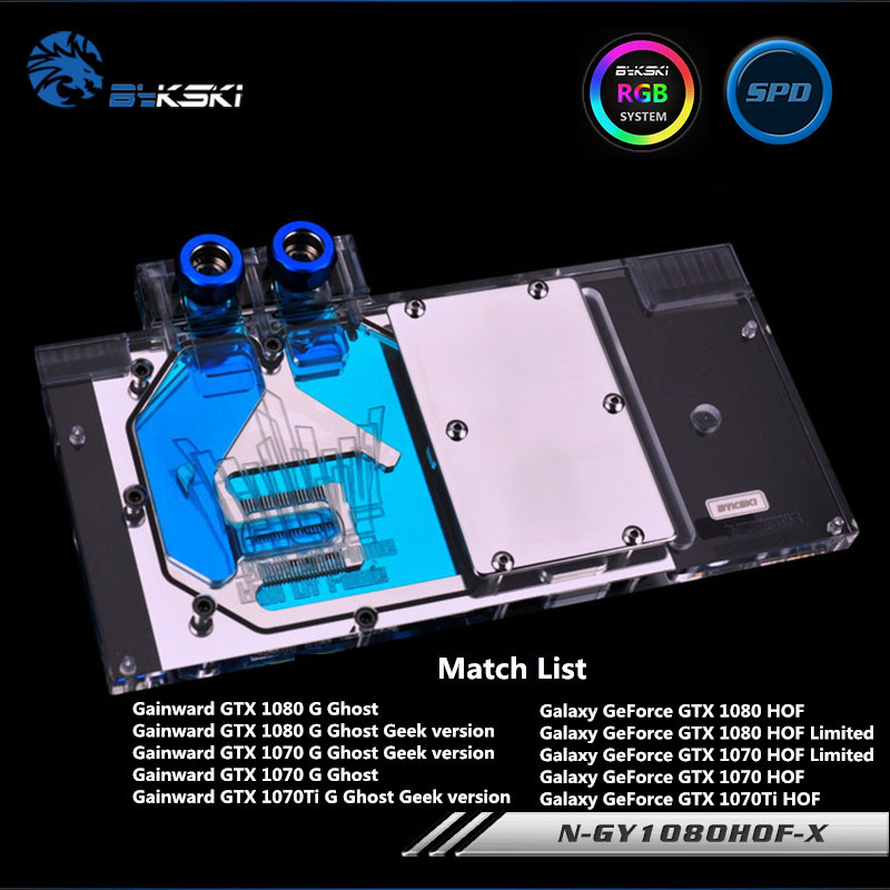 Bykski Full Coverage GPU Water Block For Galaxy Gainward GTX1080 HOF 1080 Graphics Card Water-Cooled head N-GY1080HOF-X bykski full coverage gpu water block for maxsun gtx1080 super jetstream graphics card n mx1080sjm x