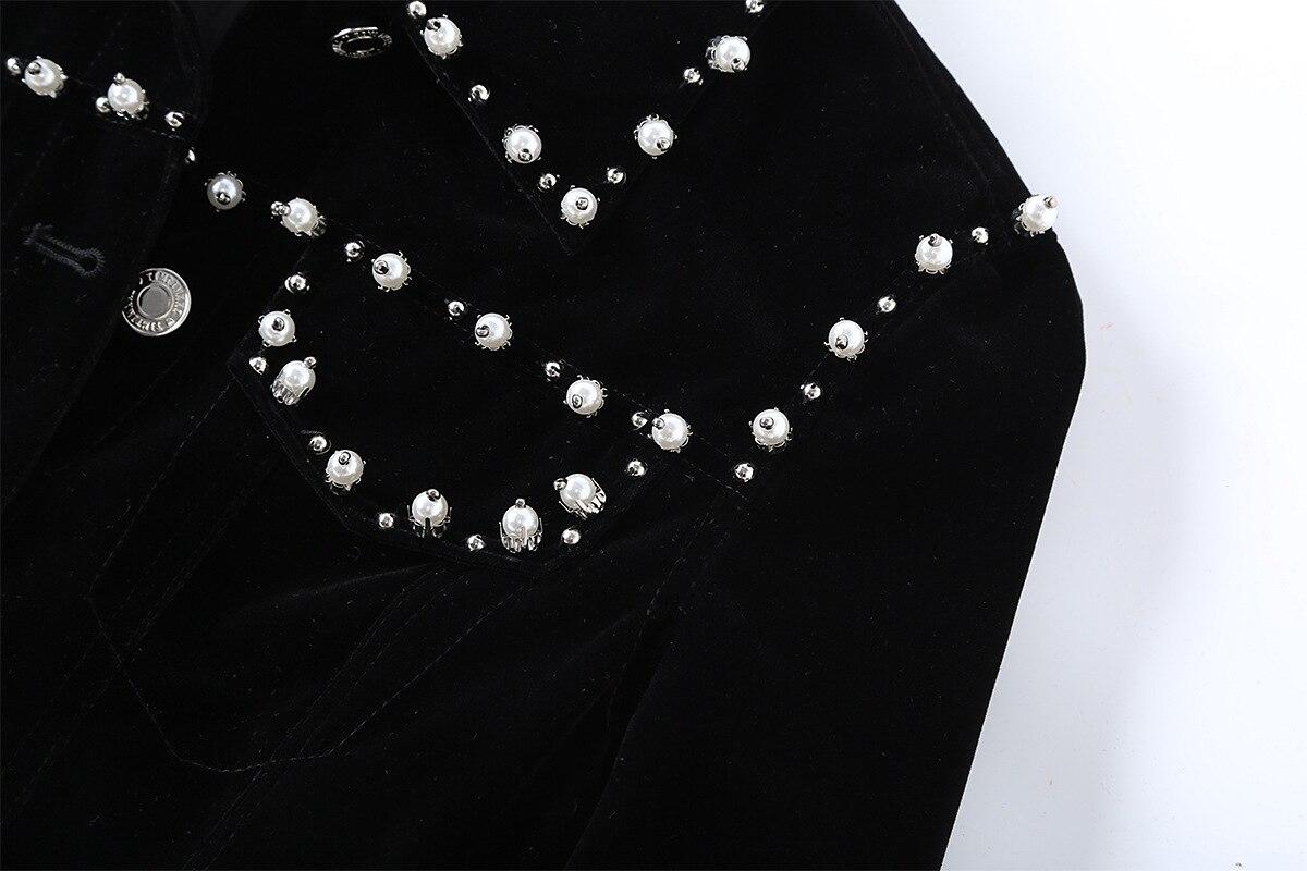 Kaki Veste Nouveau Perles De Noir kaki Mode Cristal Vintage À Hiver Manches  Noir Automne 2018 ... 8cc401d4658