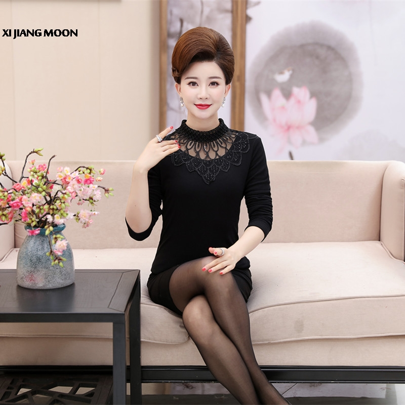 2019 Spring New Brand Plus Size 5xl Middle-aged Women Clothing Lace T-shirt Long Sleeve Pullover Fashion Thicken T-shirt R4