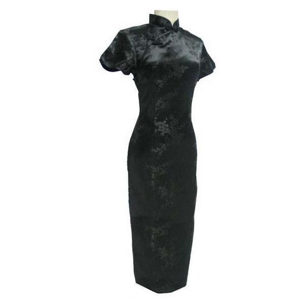 Новинка, длинное атласное женское платье чонсам, элегантное тонкое платье с высоким разрезом, традиционное платье ручной работы с пуговицами и цветами, Qipao, с коротким рукавом, Vestidos