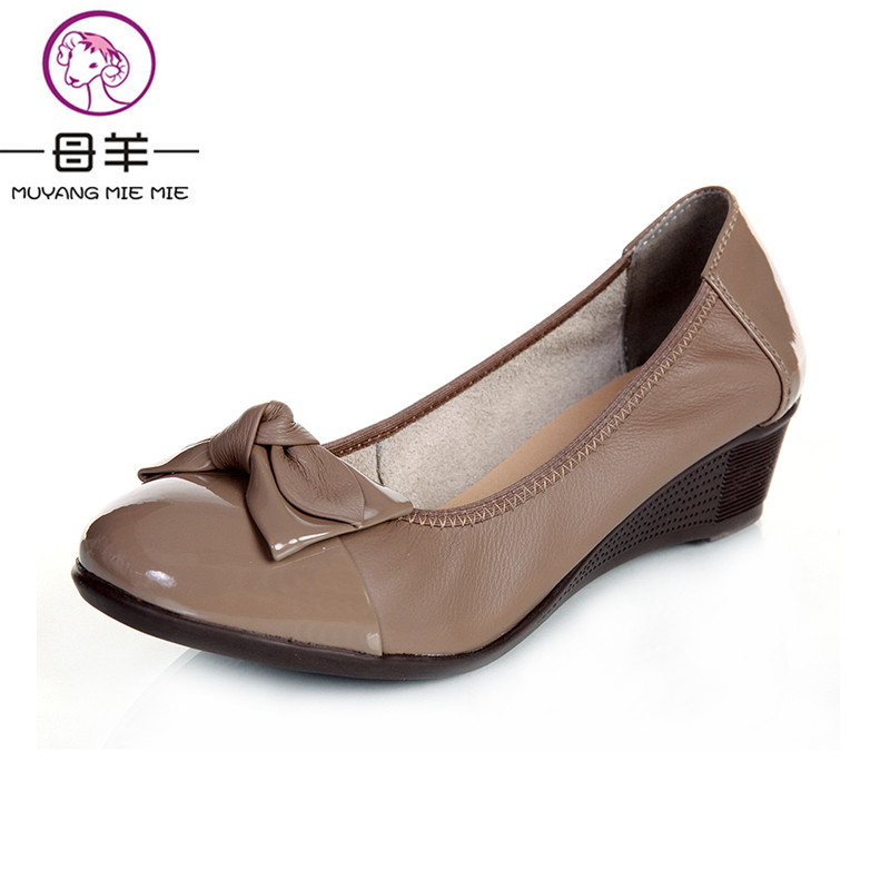 ФОТО MUYANG MIE MIE New fashion 2017 women genuine leather single flat shoes female low-top casual shoes women flats