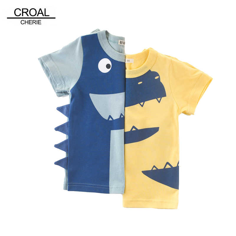 a279f87e81cb0 CROAL CHERIE Boys Cartoon Dinosaur T Shirts Children Short Sleeve Summer T  Shirts Boys Clothes Children
