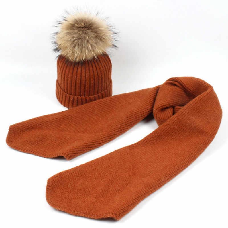 Crianças Conjunto Chapéu de Inverno Cachecol de Lã de Moda Real Raccoon Fur Pompom Gorro De Lã de Malha Cachecóis Set Crianças Da Menina do Menino De Pele pom Pom Chapéu