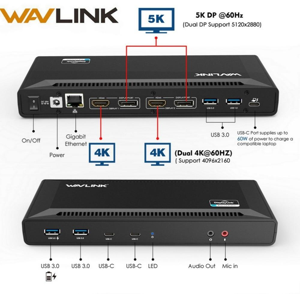 Wavlink 4 K USB-C Station d'accueil universelle double Gigabit Ethernet USB 3.0 5 K HDMI DP affichage alimentation avec Windows Mac OS