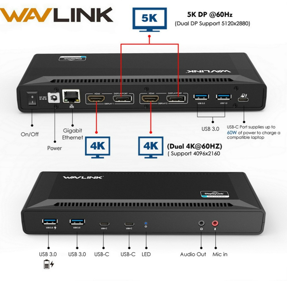 Wavlink 4 K USB-C estación de acoplamiento Universal doble Gigabit Ethernet USB 3,0 5 K HDMI DP Display entrega con windows Mac OS