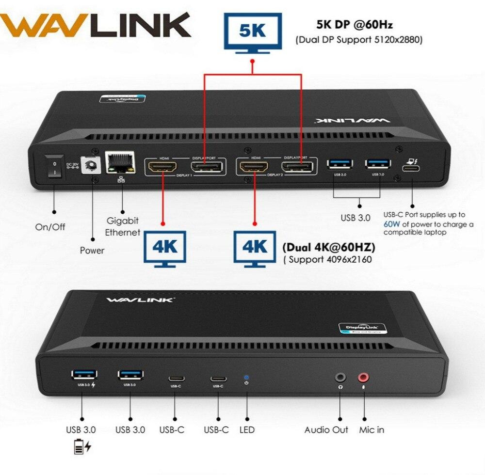 Wavlink 4K USB-C Station d'accueil universelle double Gigabit Ethernet USB 3.0 5K HDMI DP affichage alimentation avec Windows Mac OS