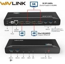 Wavlink 4K USB C محطة إرساء عالمية مزدوجة جيجابت إيثرنت USB 3.0 5K HDMI DP عرض تسليم الطاقة مع نظام التشغيل ويندوز ماك