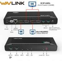 Wavlink 4K USB-C Universal Docking Station Dual Gigabit Ethernet USB 3.0 5K HDMI DP Display Power Delivery with Windows Mac OS