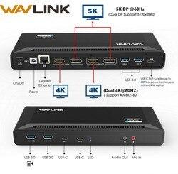 Wavlink 4K USB-C Universal Docking Station Dual Gigabit Ethernet USB 3.0 5K HDMI DP Display Power Delivery with Windows Mac OS
