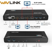 Wavlink 4K USB C Universal Docking Station Dual Gigabit Ethernet USB 3.0 5K HDMI DP Display Power Delivery with Windows Mac OS