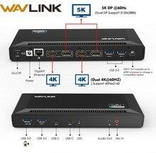Wavlink 4K USB C evrensel yerleştirme istasyonu çift Gigabit Ethernet USB 3.0 5K HDMI DP ekran güç dağıtımı windows Mac OS