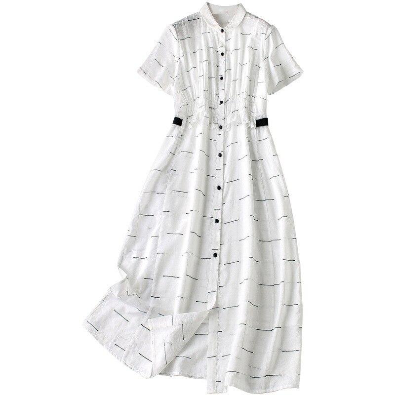Vrouwen elegante witte zomer jurk 2019 elegante korte mouw ruches ruches front casual jurken - 5