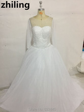 Luxury Pearls Ball Gown Wedding Dresses 3/4 Sleeves  Bridal Gowns Sweep Train Bridal Wedding Gown
