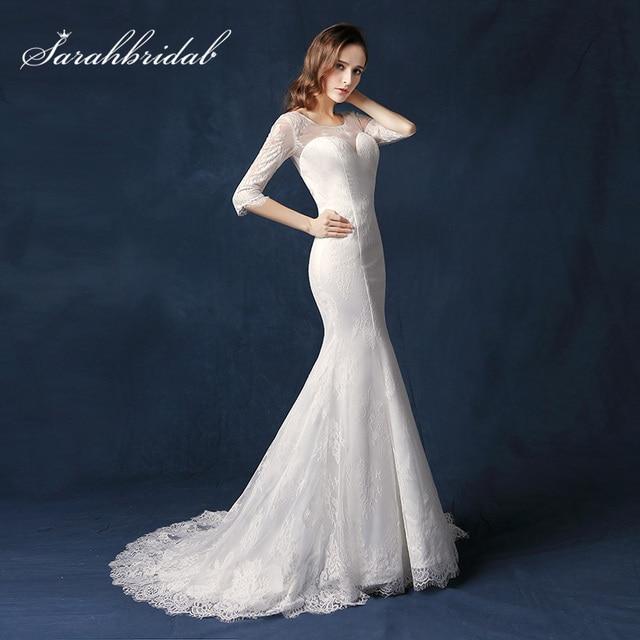 Elegant White Lace Mermaid Wedding Dresses Sheer Neck V Back Zipper ...