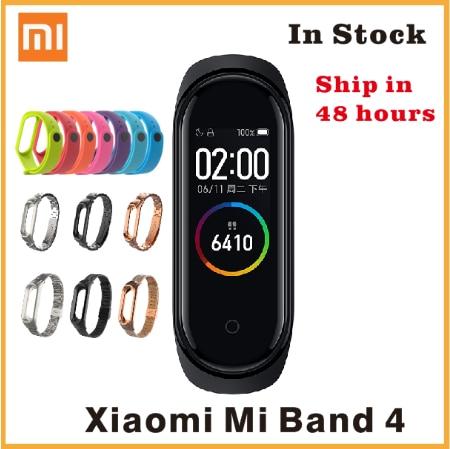 In Stock Original Xiao mi mi Band 4 สมาร์ทบลูทูธ 5.0 สายรัดข้อมือฟิตเนสสร้อยข้อมือ AMOLED หน้าจอสัมผัสสีเพลง AI heart Rate
