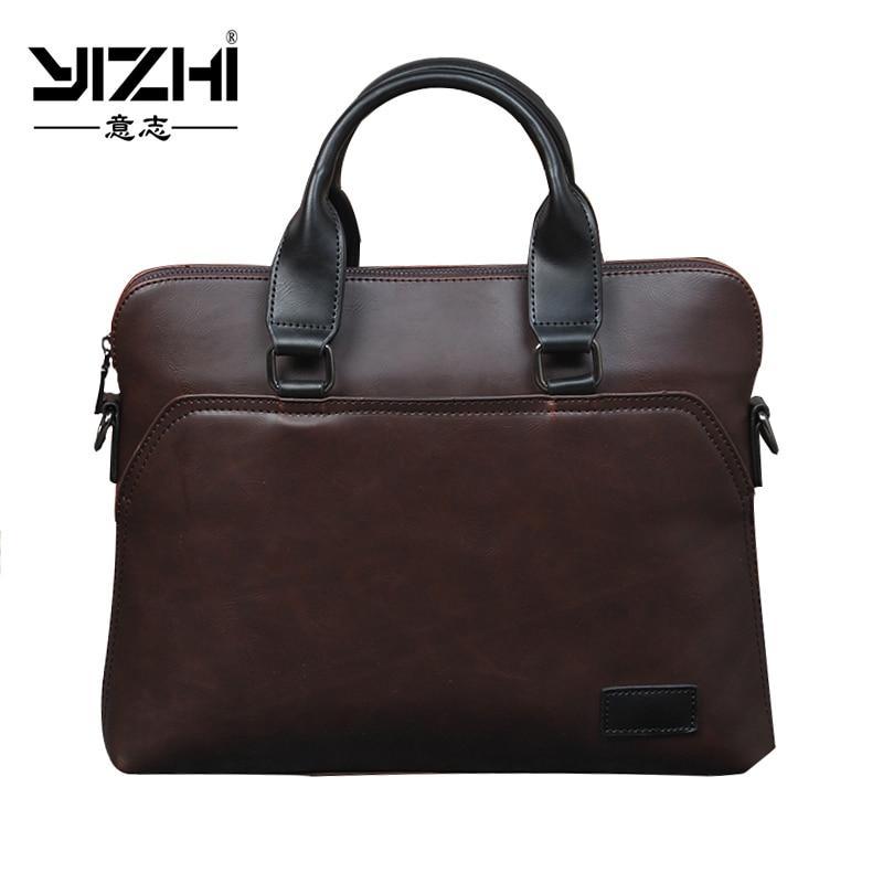 Black, Quality, Briefcase, Laptop, YIZHI, Leather