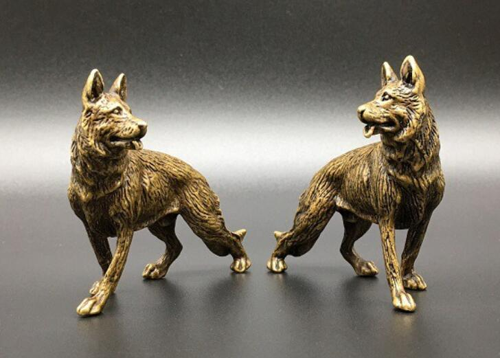 China's Archaize Pure Brass Wolf Dog Small Statue A Pair