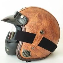 Adult Leather Harley Helmets 3/4 Motorcycle Helmet High quality Chopper Bike helmet open face vintage motorcycle motocros