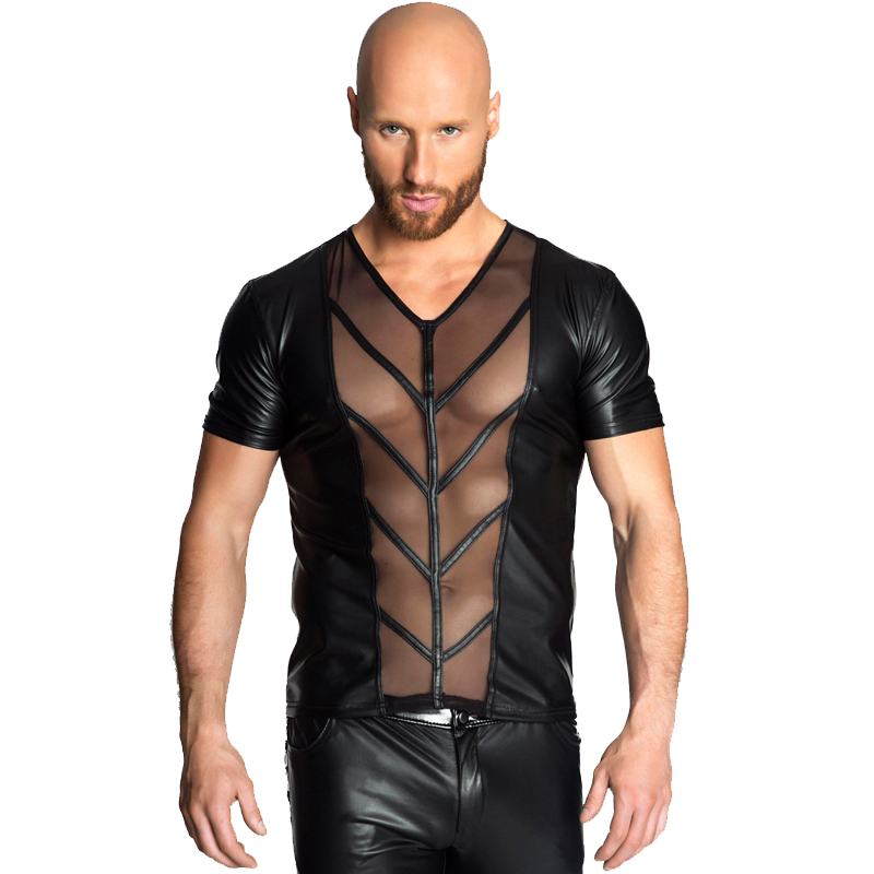 Mens Erotic Sexy Leather Wet Look Boxer Briefs Skintight Underwear Underpants