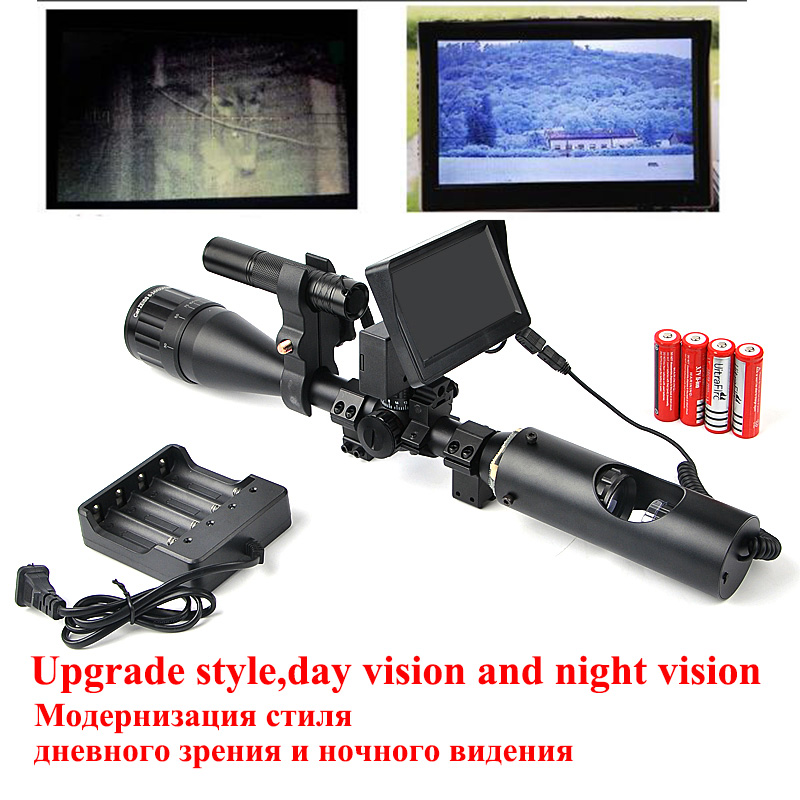 Night Vision Riflescope Tactical Rifle Scope Optic Sight With Battery Monitor and Flashlight Hunting Scopes for