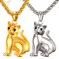 U7 Brand Cute Cat Solid Pendant & Chain Gold Plated Stainless Steel 2017 Hot Fashion Jewellery Men/Women Necklaces Gift P1030