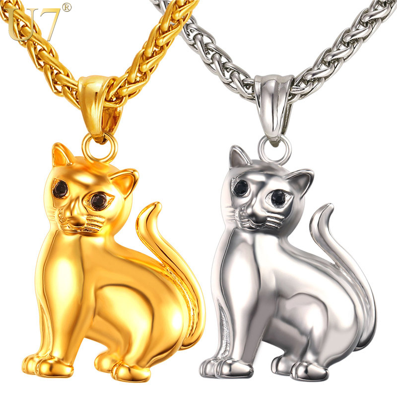 U7 Brand Cute Cat Solid Pendant & Chain Gold Plated Stainless