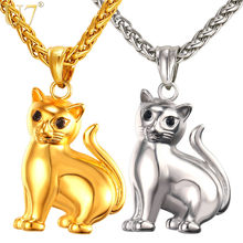 U7 Brand Cute Cat Solid Pendant & Chain Gold Color Stainless Steel 2017 Hot Fashion Jewelery Men/Women Necklaces Gift P1030(China)