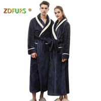 ZDFURS *new women Winter Warm Long Bath Robe white stripes collar Lovers Kimono Bathrobe Men Dressing Gown Bride Wedding Robes