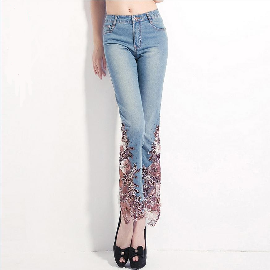 ФОТО 6XL PLUS SIZE 2017 summer elastic high waist beaded lace JEANS PANTS Ankle-Length Pants flower embroidery women's jeans w1064
