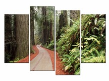 Framed 4 Panel Classic rural landscape Wall Art Oil Painting On Canvas Printed Pictures Decor painting/JO13-010