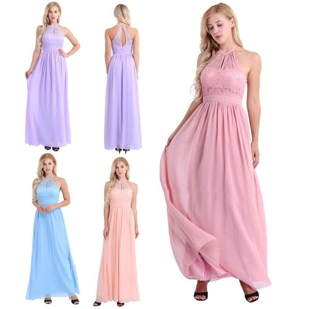 25632fb54fcf7 iEFiEL Women Vestido de festa Halter Lace Floral Sleeveless Chiffon Dress  Ladies Weeding Birthday Party Summer Prom Gown Dress