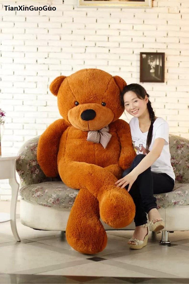 huge 180cm dark brown teddy bear plush toy bowtie cartoon bear soft doll hugging pillow birthday gift h1319 dg home софа papa bear dark grey
