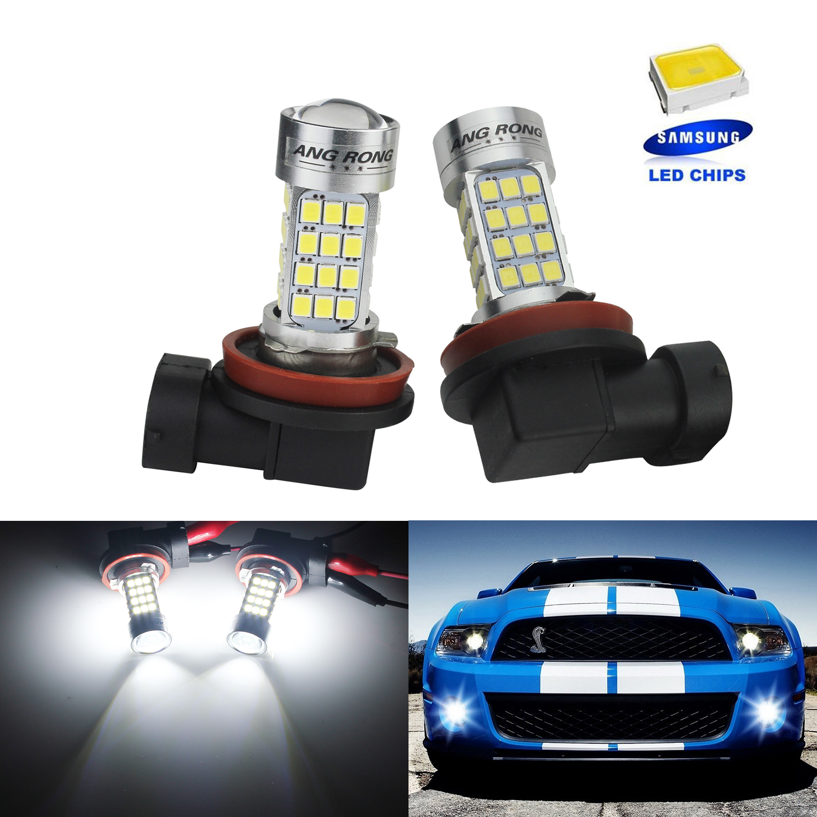 ANGRONG 2x White H11 H8 SAMSUNG LED 45W Projector Sidelight Daytime Fog Light Bulbs 6000K