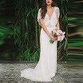 Новый Чешские Свадебное Платье 2016 Роскошные Бисером V-образным Вырезом Пляж Свадебные платья Кристалл Boho Свадебное Платье платье-де-noiva де renda