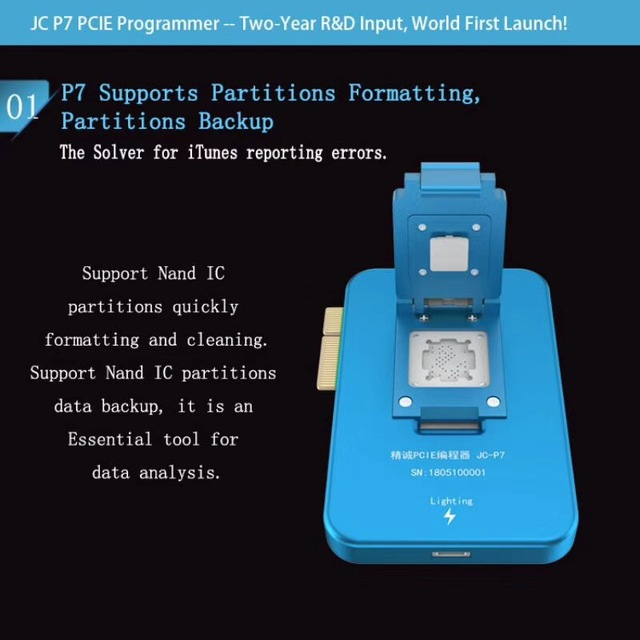 US $175 0 | JC P7 PCIE Programmer Error Fix Tool Read and write SYSCFG for  iPhone 7G 7P 6S 6SP SE PRO 10 5 12 9 support nand IC WIFI unlock-in Mobile