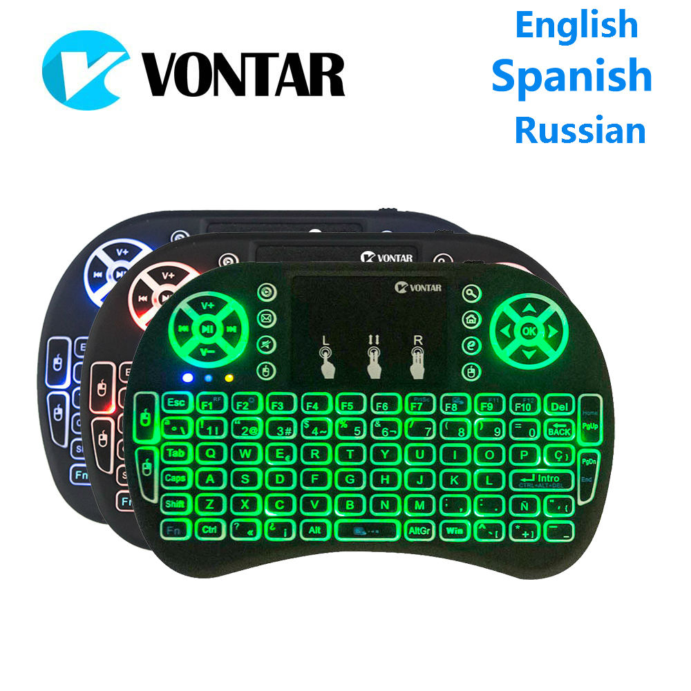 VONTAR mini i8 Backlight keyboard English Spanish Russian and Normal I8 Keyboard Touchpad Backlit Keyboard For Android TV BOX vontar i8 english russian backlight mini wireless keyboard 2 4ghz air mouse backlit touchpad handheld for android tv box
